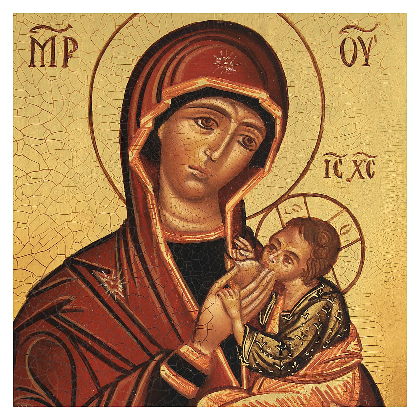 Icona russa Madonna Allattante 14x10 cm dipinta 4