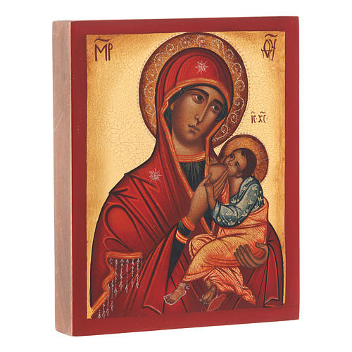Icona russa Madonna Allattante 14X10 cm 2
