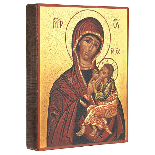 Icona russa Madonna Allattante 14x10 cm dipinta 3