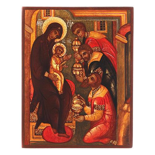 Icona russa Adorazione tre Magi 14x10 cm 1
