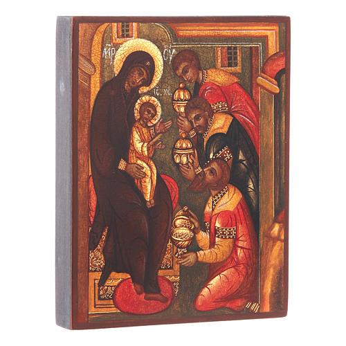 Icona russa Adorazione tre Magi 14x10 cm 2