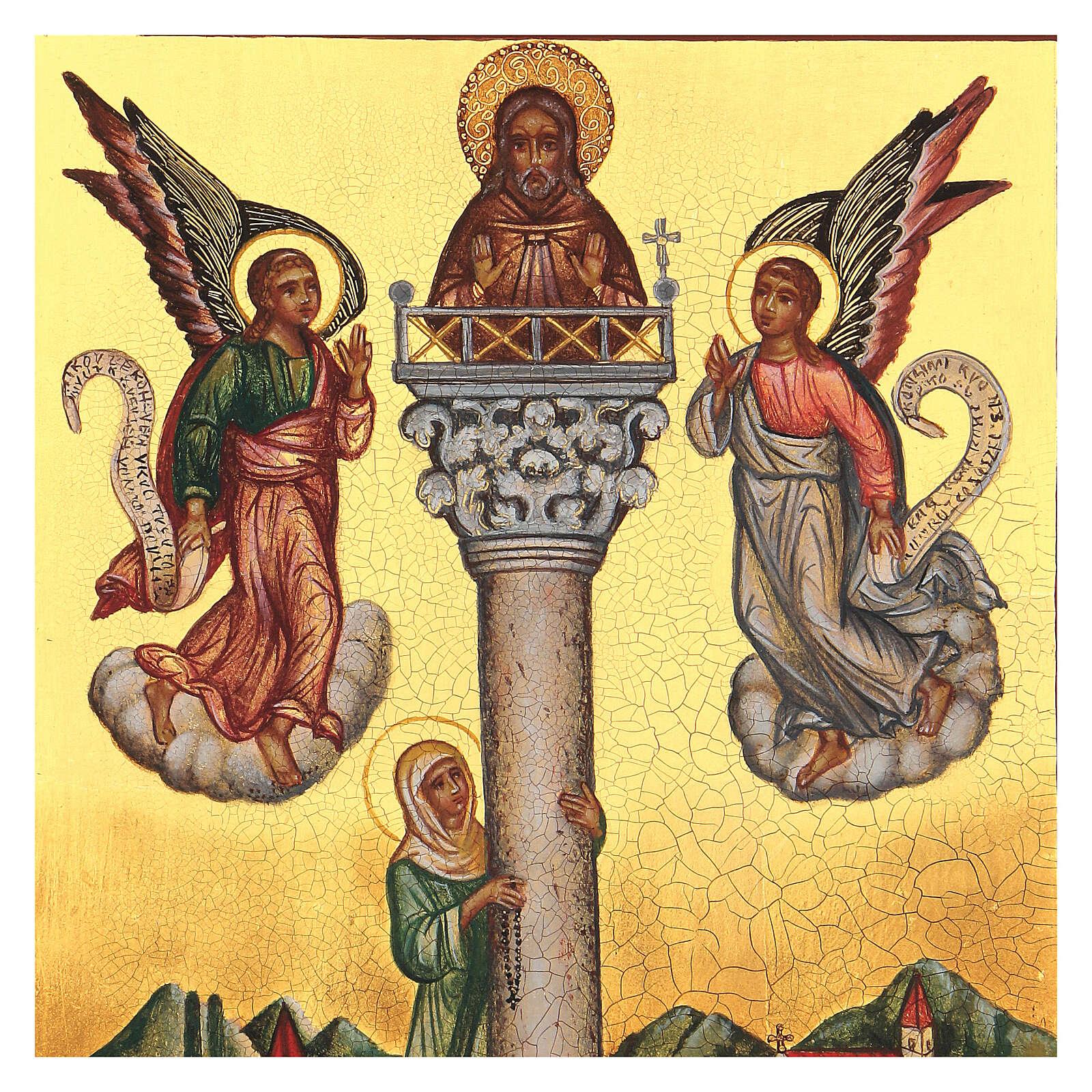 Icona russa San Giovanni sulla colonna 14x10 cm 4