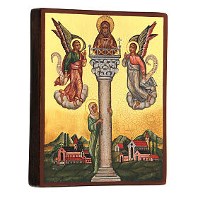 Icona russa San Giovanni sulla colonna 14x10 cm s3
