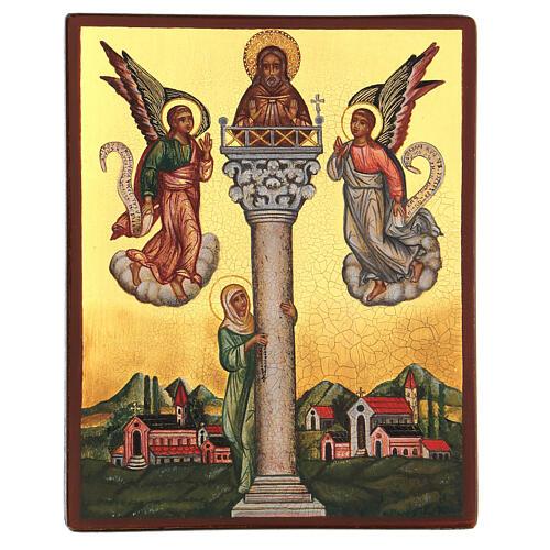 Icona russa San Giovanni sulla colonna 14x10 cm 1