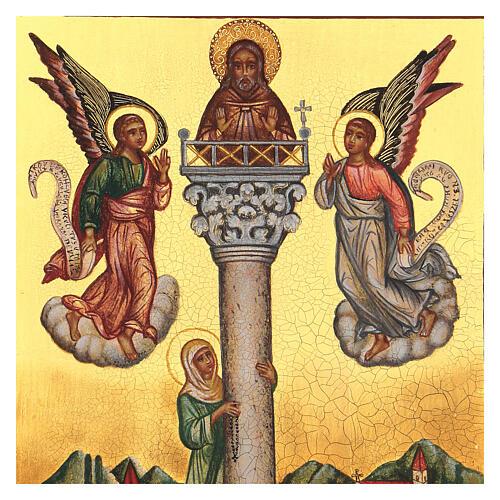 Icona russa San Giovanni sulla colonna 14x10 cm 2