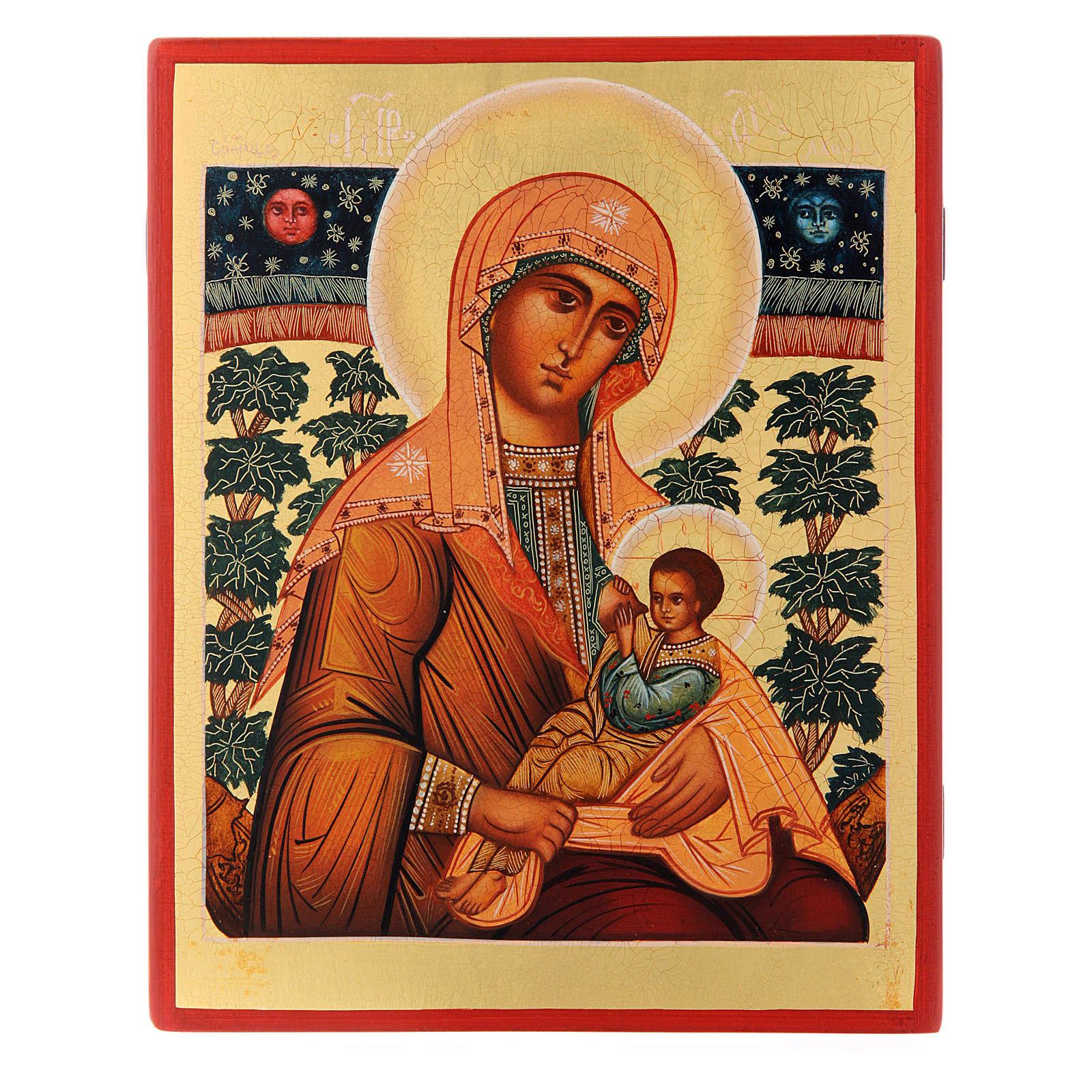 Icona russa Madonna Allattante 21X17 cm 4