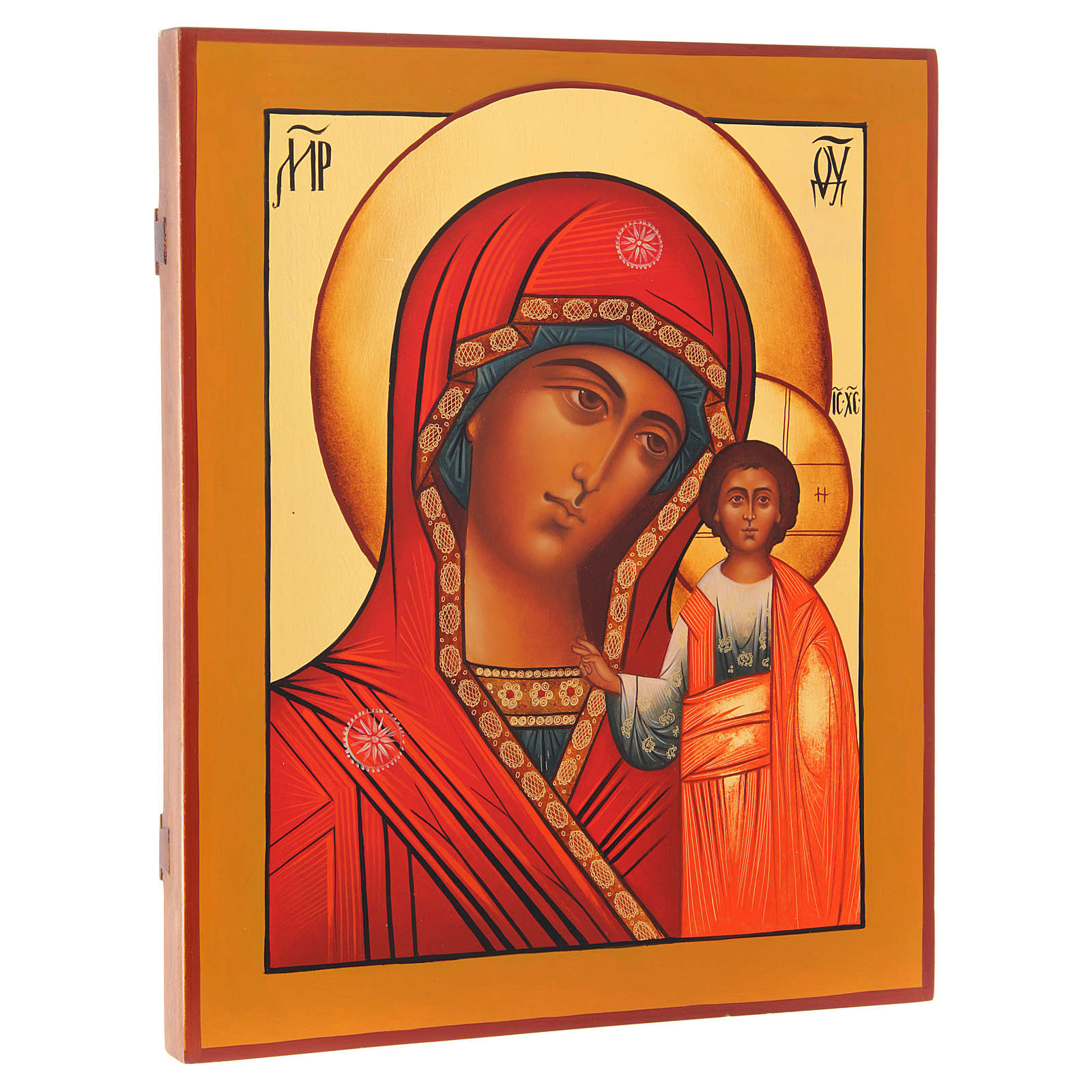 Icona russa Madonna di Kazan 36X30 cm 4