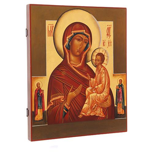 Icona russa Madonna di Tikhvin con due Santi 36X30 cm 2