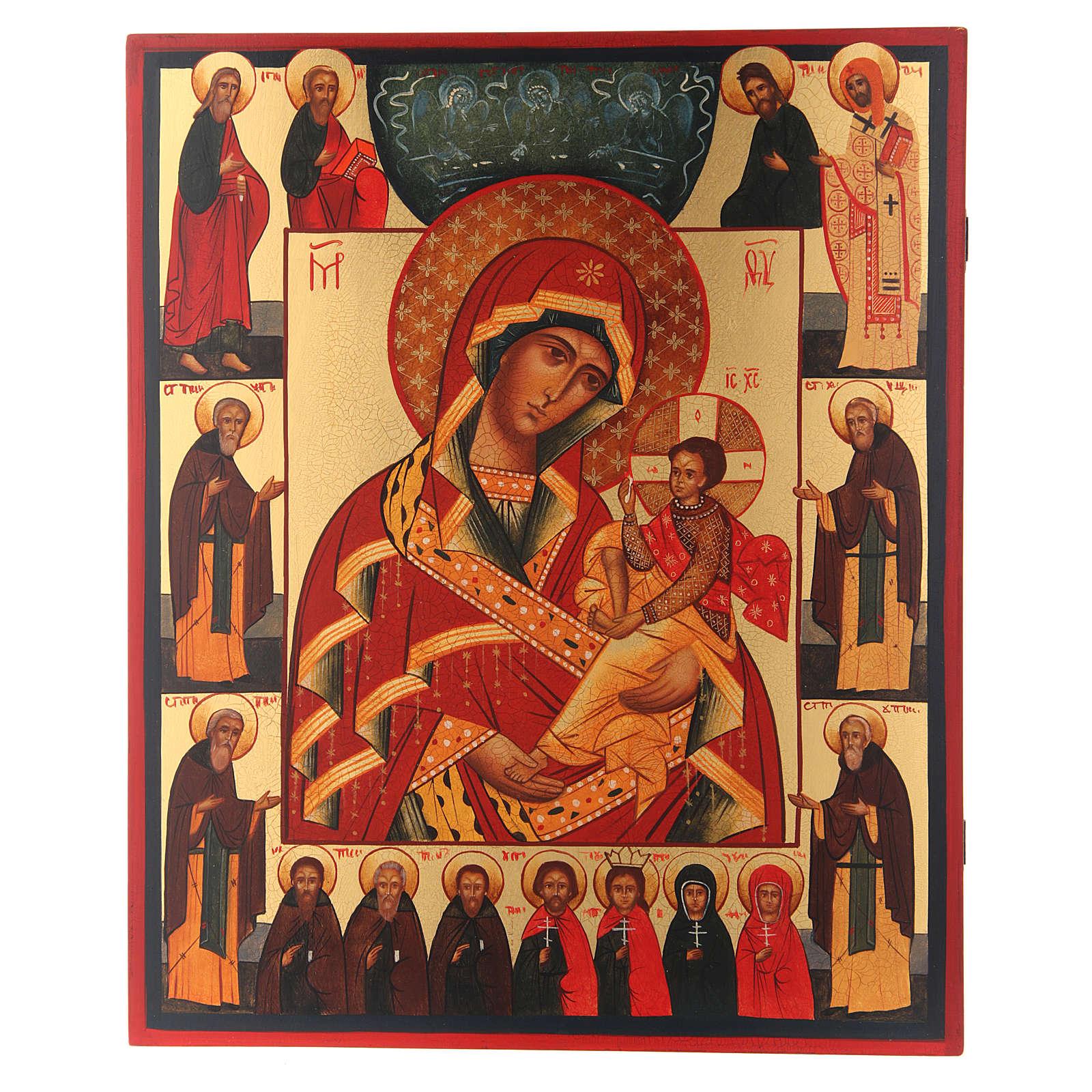 Icona russa Madonna di Suja con Trinità e Santi 36X30 cm 4