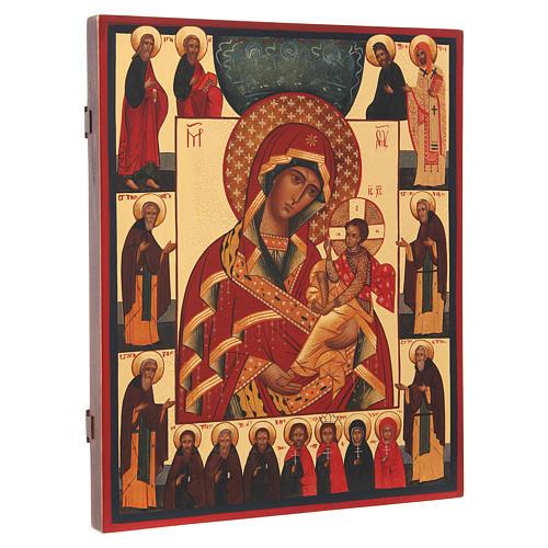 Icona russa Madonna di Suja con Trinità e Santi 36X30 cm 2
