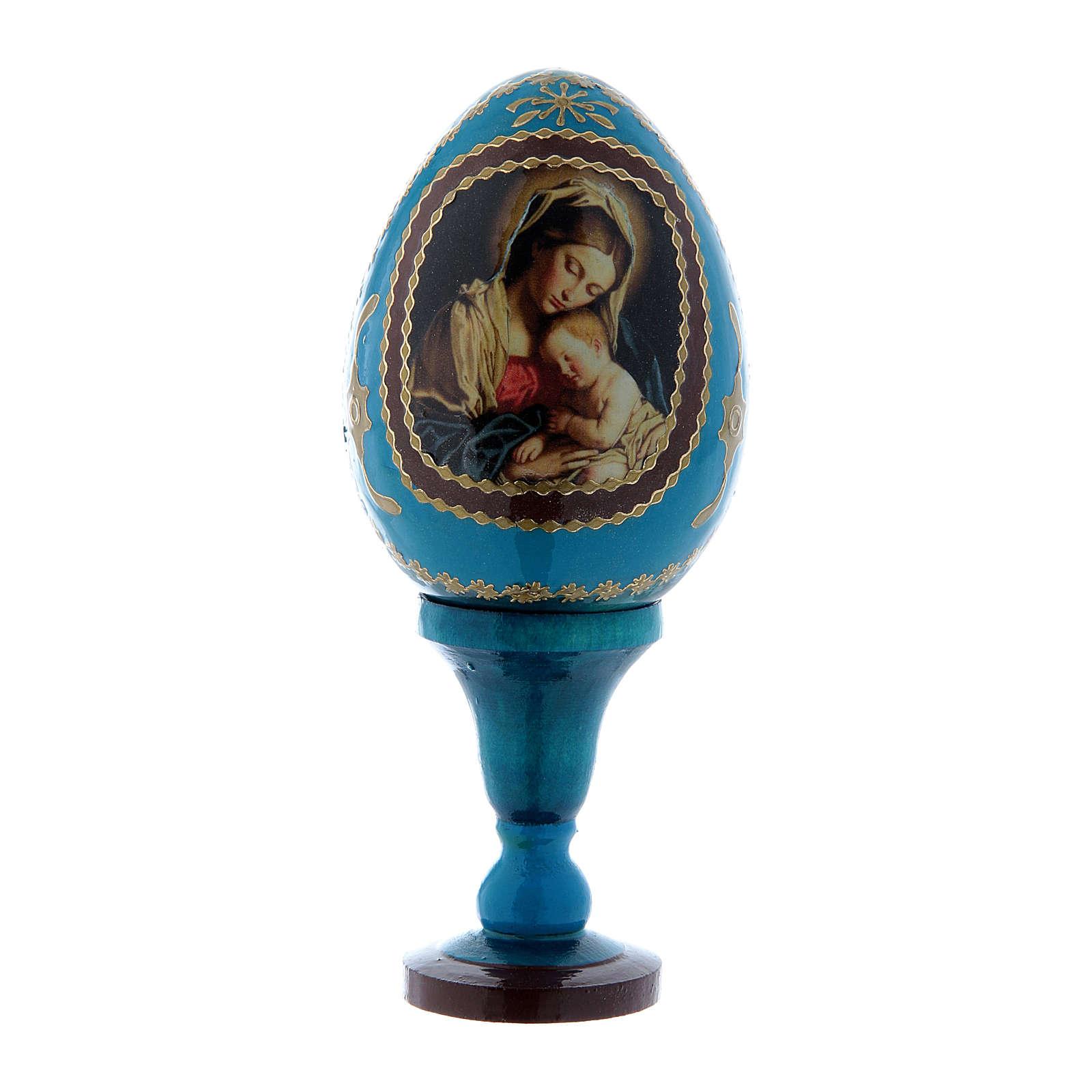 Uovo blu russo in legno decorato Madonna col Bambino h tot 13 cm 4