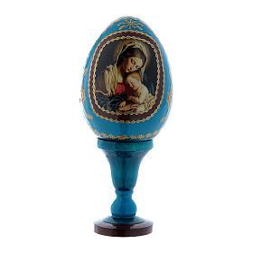 Uovo blu russo in legno decorato Madonna col Bambino h tot 13 cm s1