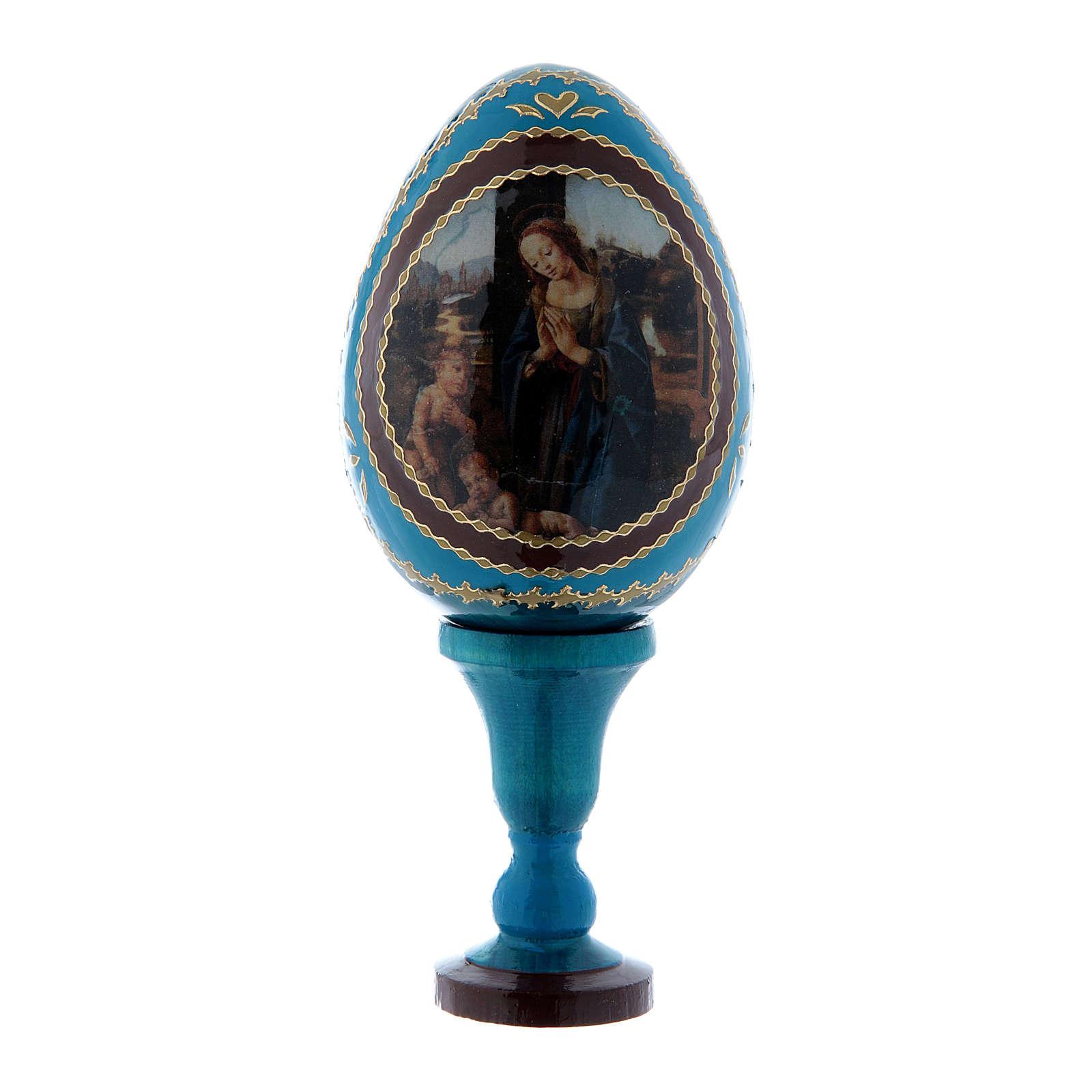 Huevo estilo Fabergé azul Adoración del Niño con San Juanito de madera h tot 13 cm 4