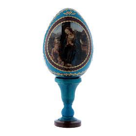Uovo stile Fabergé blu Adorazione del Bambino con San Giovannino in legno h tot 13 cm  s1