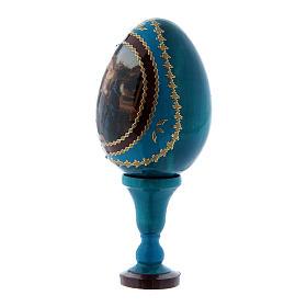 Uovo stile Fabergé blu Adorazione del Bambino con San Giovannino in legno h tot 13 cm  s2
