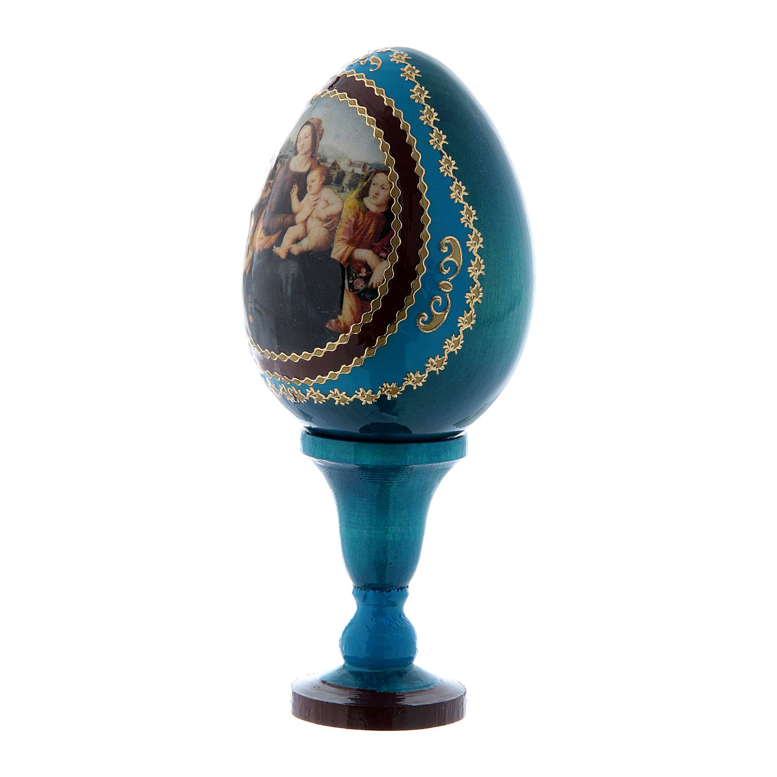 Russian Egg Madonna and Child with Infant St. John and Angels, Fabergé style, blue 13 cm 4