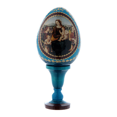 Russian Egg Madonna and Child with Infant St. John and Angels, Fabergé style, blue 13 cm 1