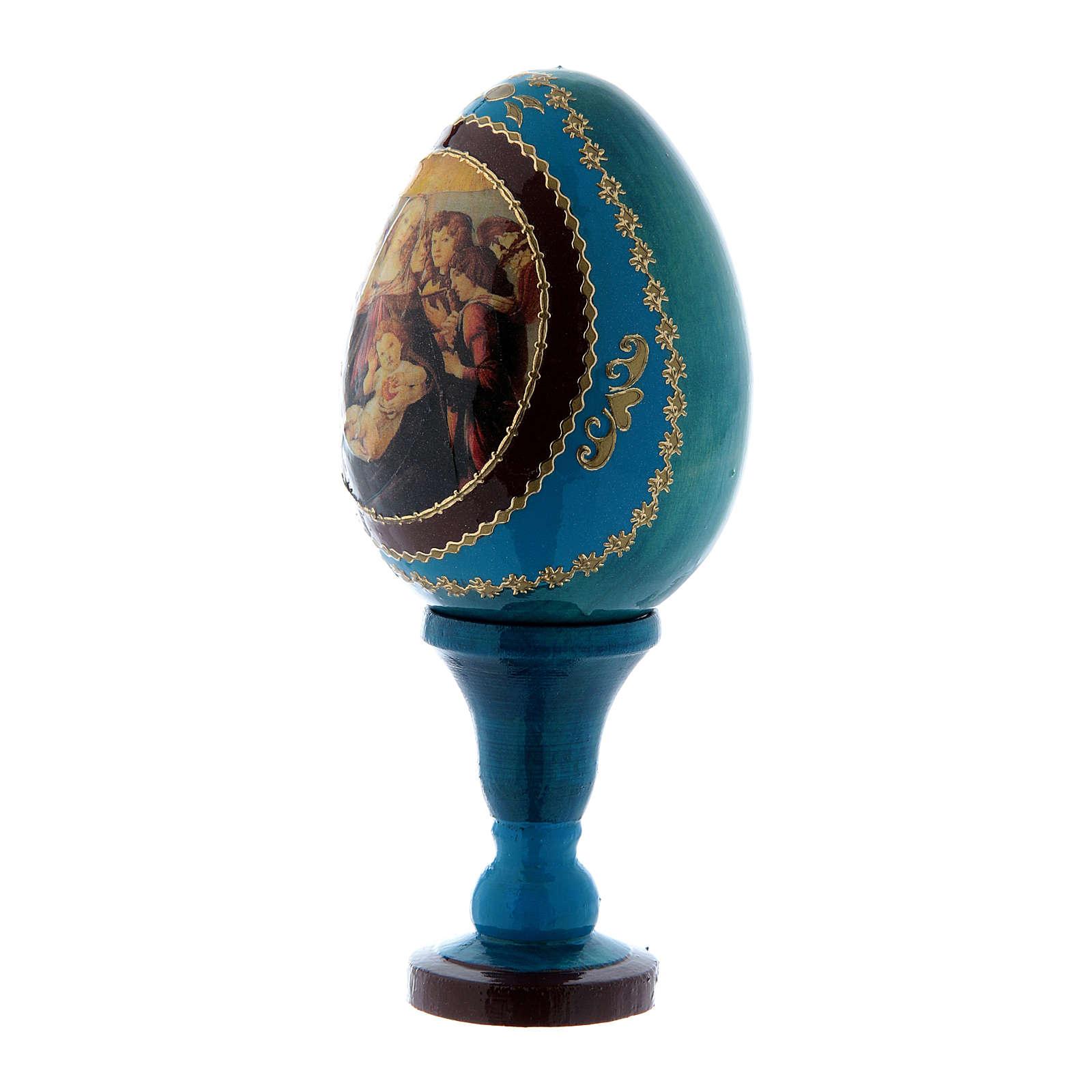 Uovo in legno russo blu h tot 13 cm La Madonna della melagrana 4