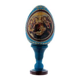 Uovo in legno russo blu h tot 13 cm La Madonna della melagrana s1