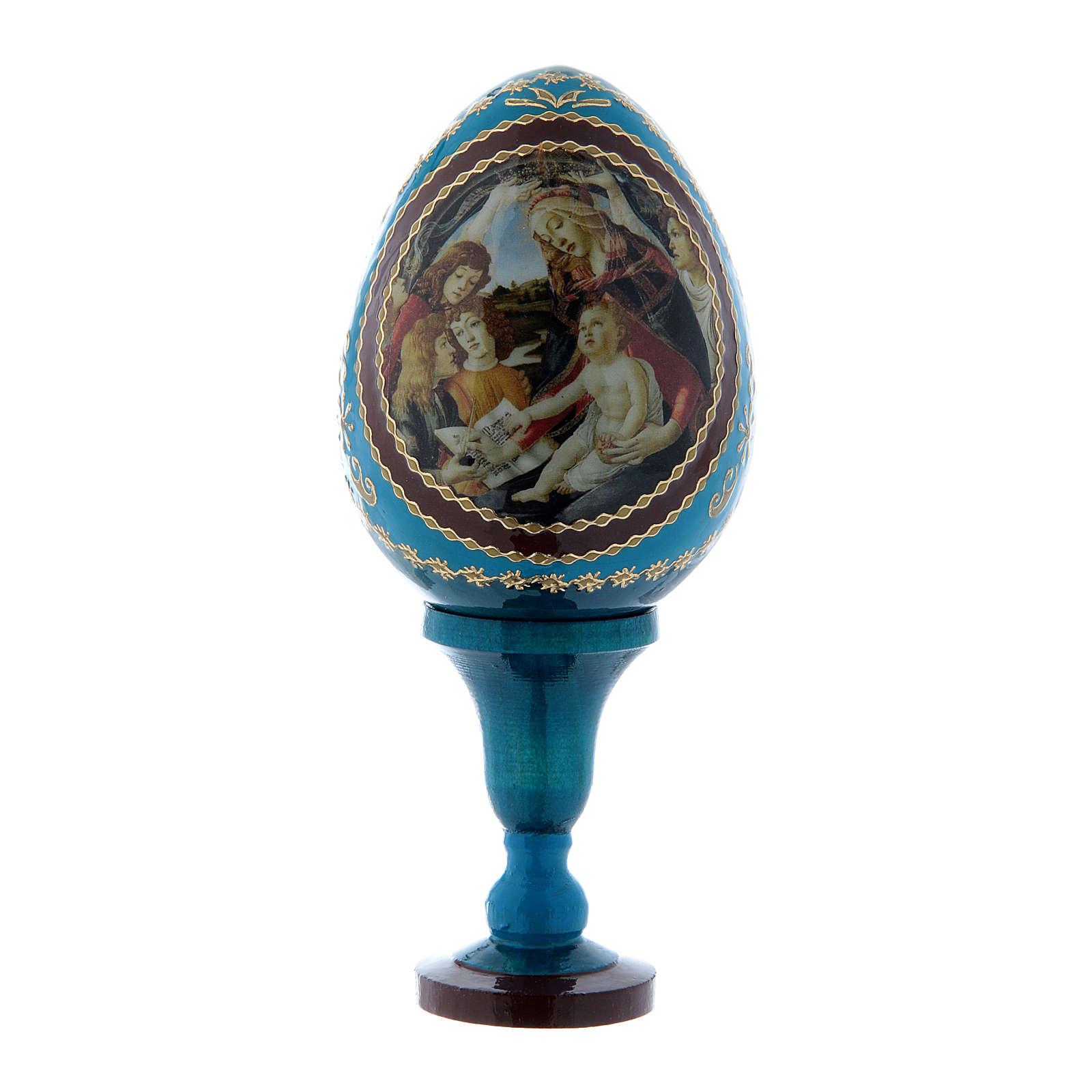 Uovo russo blu La Madonna del Magnificat stile Fabergé h tot 13 cm  4