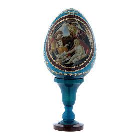 Uovo russo blu La Madonna del Magnificat stile Fabergé h tot 13 cm  s1