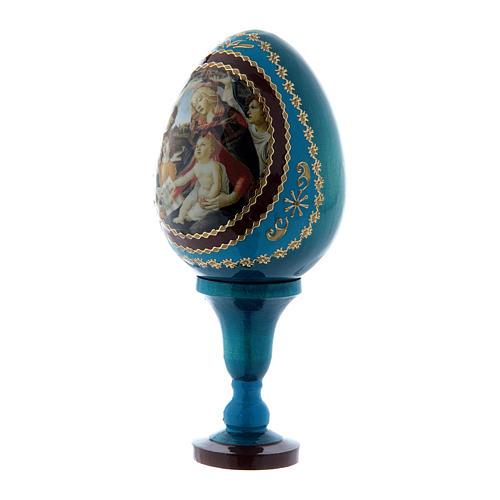 Uovo russo blu La Madonna del Magnificat stile Fabergé h tot 13 cm  2