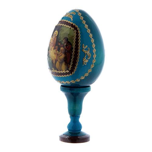 Uovo russo decorato a mano blu La Nascita di Gesù Cristo h tot 13 cm 2
