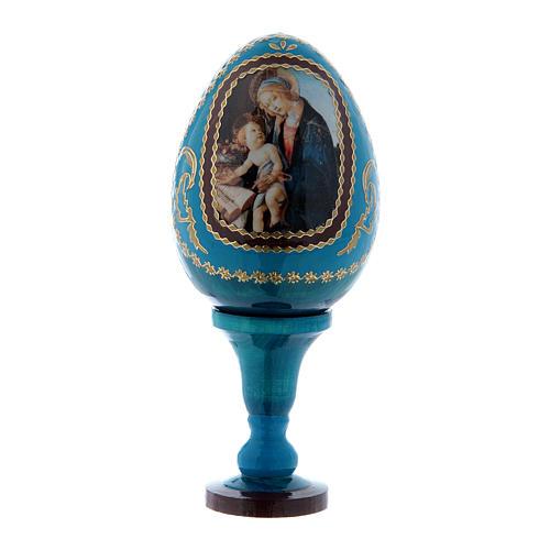 Russische Ei-Ikone, blau, Madonna mit dem Buch, Gesamthöhe 13 cm