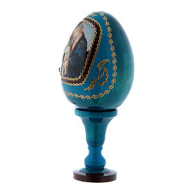 Russian Egg Madonna of the Book, Fabergé style, blue 13 cm