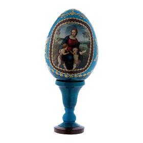 Uovo La Madonna del Cardellino in legno decorato blu h tot 13 cm s1