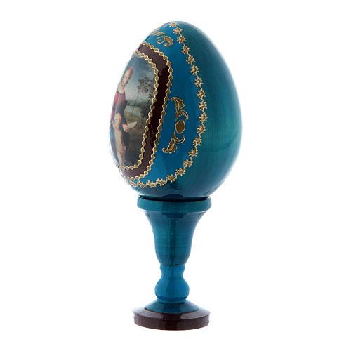 Uovo La Madonna del Cardellino in legno decorato blu h tot 13 cm 2