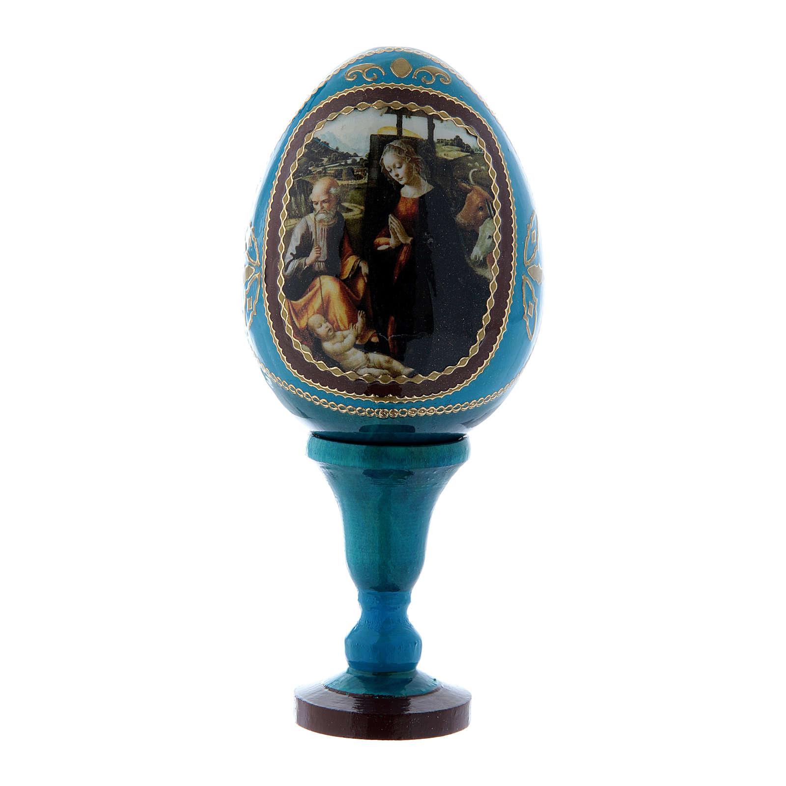 Uovo Natività découpage russo blu h tot 13 cm 4