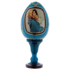 Uovo icona russa découpage blu La Madonnina h tot 13 cm s1