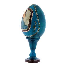Uovo icona russa découpage blu La Madonnina h tot 13 cm s2