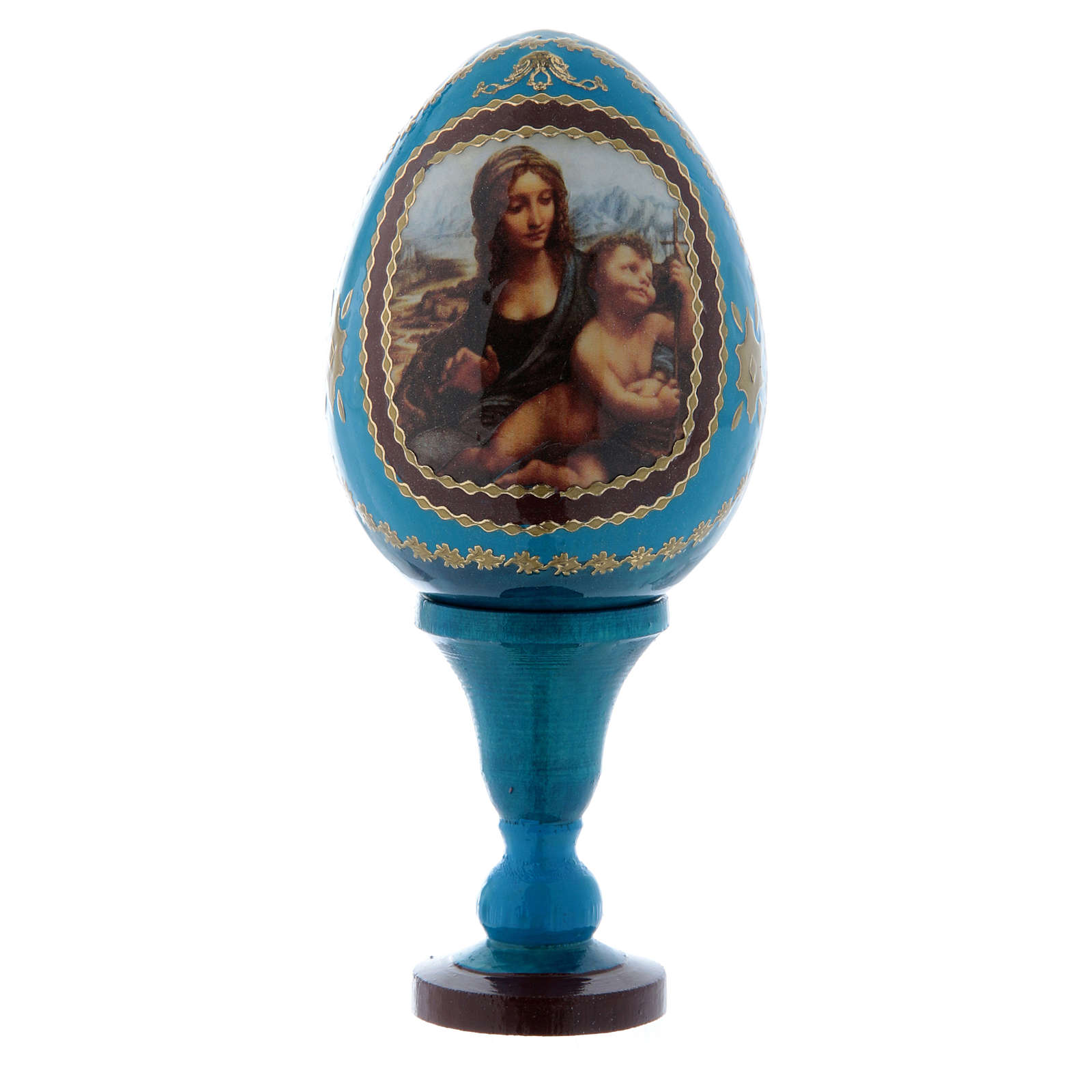 Uovo russo  blu La Madonna dei Fusi découpage h tot 13 cm 4