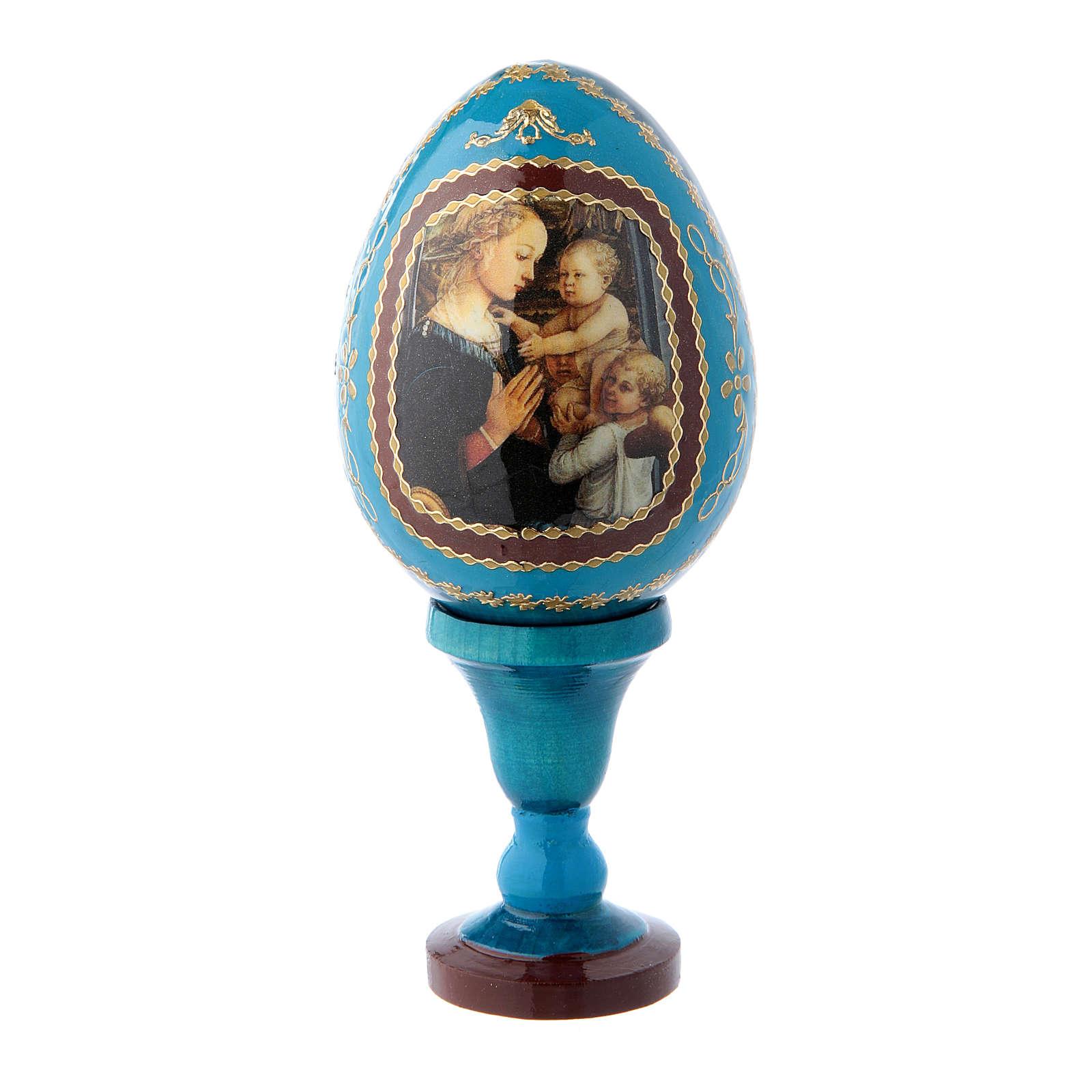 Huevo de madera decorado azul Virgen con Niño y Ángeles h tot 13 cm 4