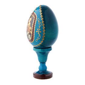 Huevo de madera decorado azul Virgen con Niño y Ángeles h tot 13 cm s2