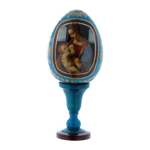Oeuf russe La Madone Litta style Fabergé bleu h tot 13 cm 1