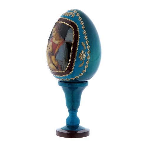 Oeuf russe La Madone Litta style Fabergé bleu h tot 13 cm 2