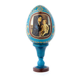 Russian painted eggs: Russian Egg Alzano Madonna, Fabergé style, blue 13 cm