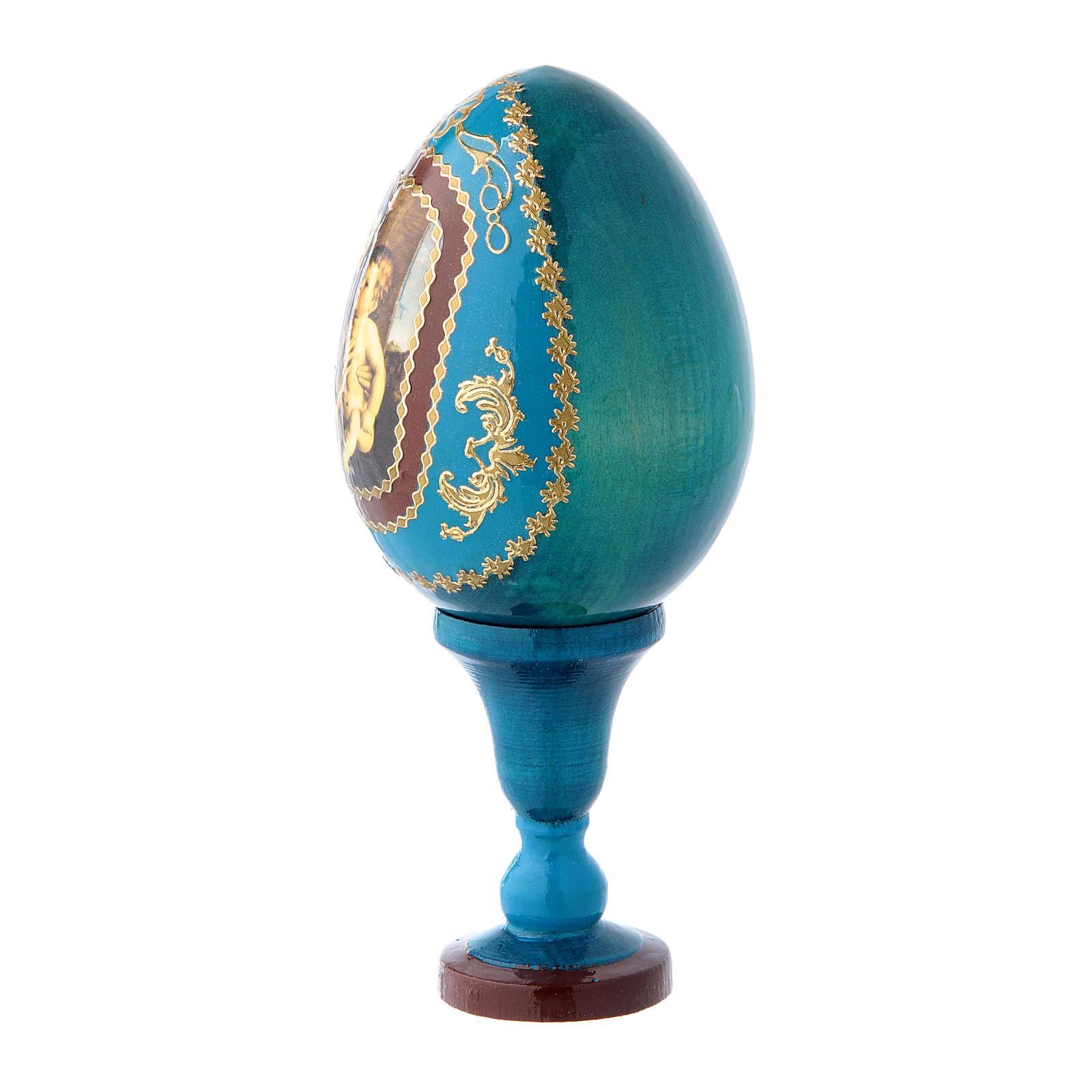 Uovo blu russo La Madonna col Bambino stile Fabergé h tot 13 cm 4