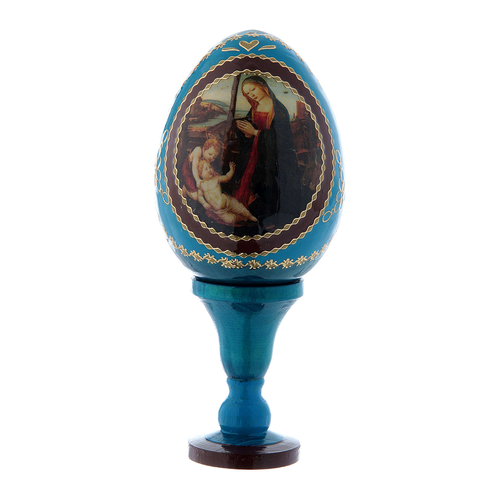 Oeuf icône russe bleue Vierge à l'Enfant et Saint Jean-Baptiste h tot 13 cm 4