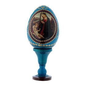 Uovo icona russa blu Madonna con Bambino e San Giovannino h tot 13 cm s1
