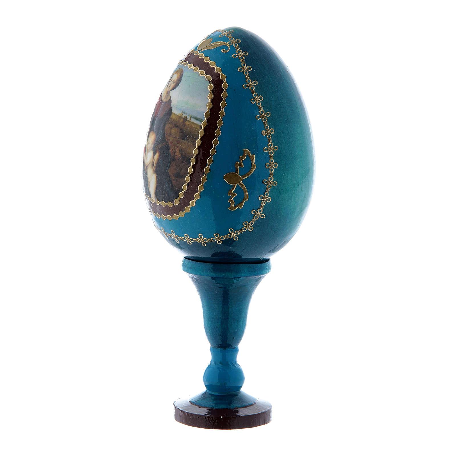 Oeuf icône russe La Madone à la prairie style Fabergé bleu h tot 13 cm 4