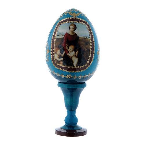Oeuf icône russe La Madone à la prairie style Fabergé bleu h tot 13 cm 1