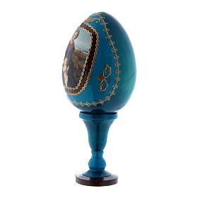 Uovo icona russa La Madonna del Belvedere stile Fabergé blu h tot 13 cm s2