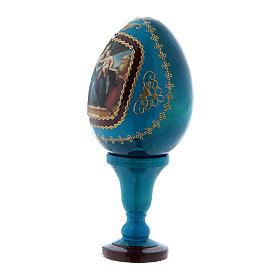 Oeuf La Vierge au poisson en bois bleu décoré h tot 13 cm s2