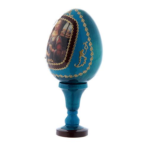 Russische Ei-Ikone, blau, Madonna mit dem Kinde, Fabergè-Stil, Gesamthöhe 13 cm