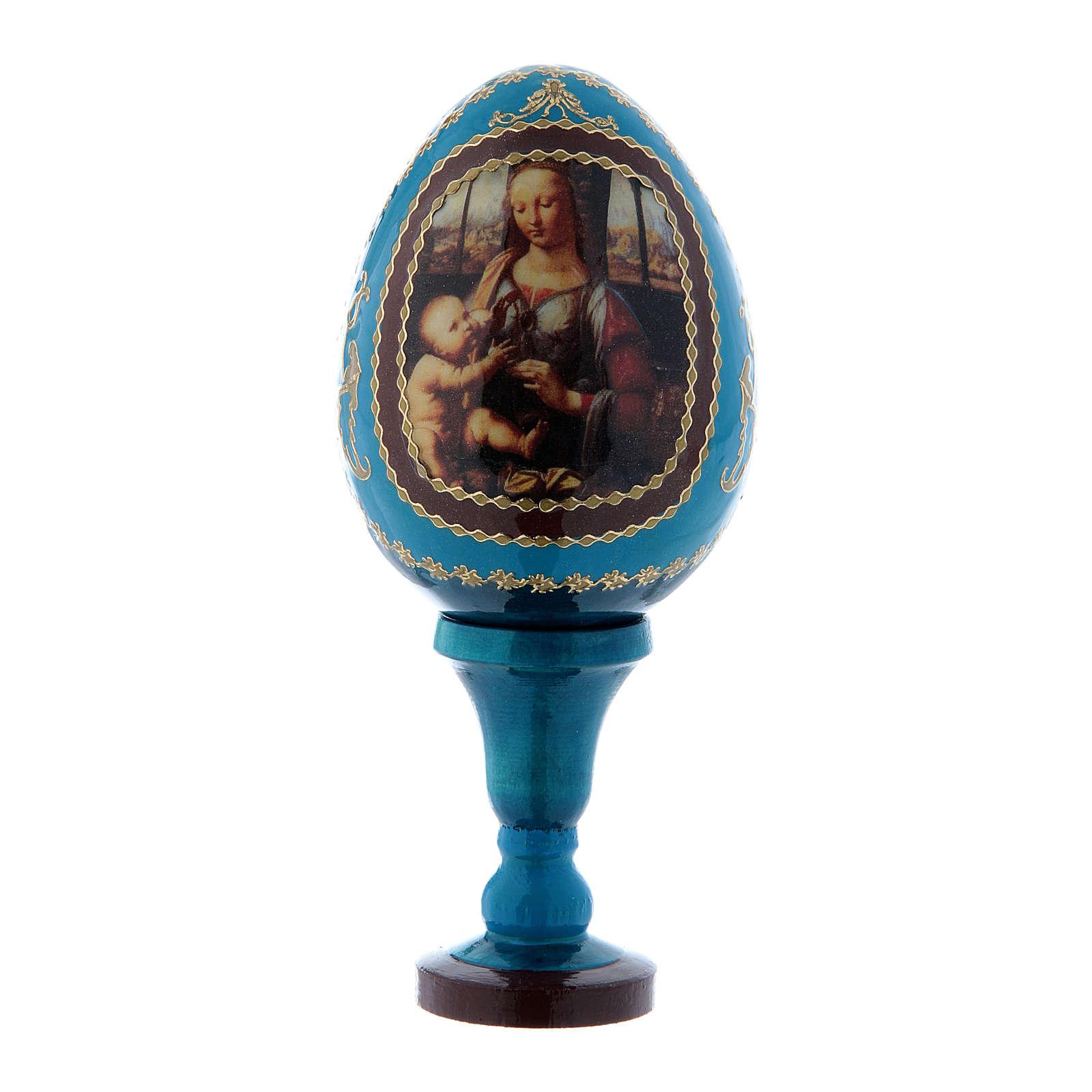 Uovo russo blu La Madonna col Bambino decorato Fabergé h tot 13 cm 4