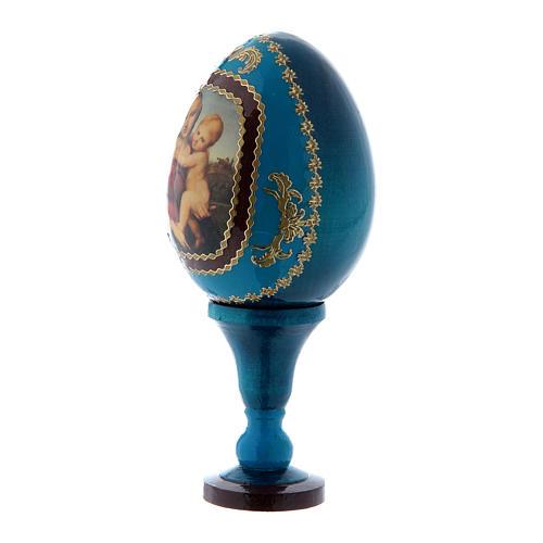 Russische Ei-Ikone, blau, Kleine Cowper Madonna, Fabergè-Stil, Gesamthöhe 13 cm